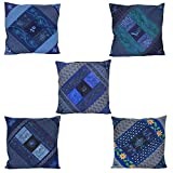 Chic & Comfort My Home MY Life.... Blended Cotton Cushion Cover (Set Of 5 ) (16 Cm X 16 Cm,Blue)