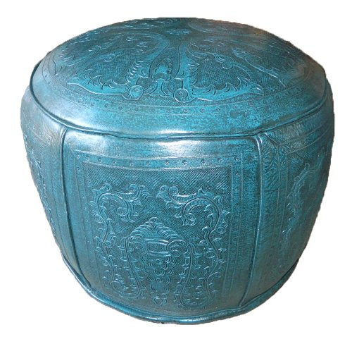 New World Trading Large Ottoman Round, Colonial, Teal