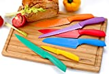 Non-Stick Knife Set Color-Coded plus Bonus Cutting Board - Includes Chef Knife, Bread Knife, Carving Knife, Paring Knife, Sandwich Knife and Santoku Knife By Utopia Kitchen