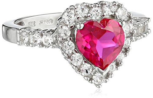 10k White Gold Heart-Shaped Created Ruby and Round Created White Sapphire Heart Ring, Size 6