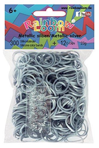 Rainbow Loom Latex-freie Gummibänder Metallic silber Inh.: 300 Bänder 100 % Silikon + 12 C-Clips