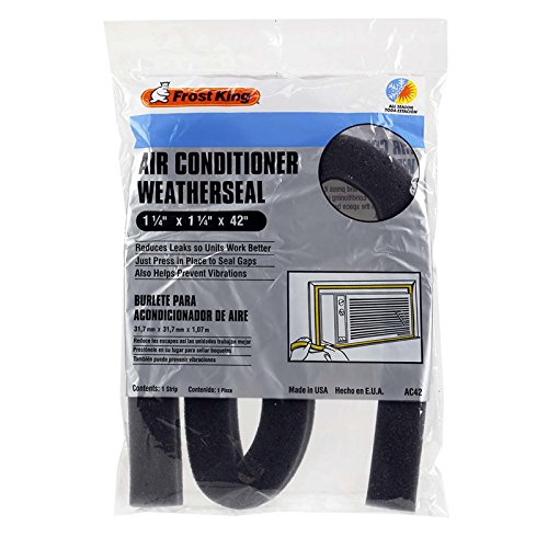 """Frost Regent Foam Window Air Conditioner Weather Strip 1-1/4"""" x 42"""" Saves Energy, Reduces Vibration"""