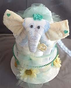 Amazon.com : Baby Shower Elephant Theme Diaper Cake ...