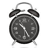 DreamSky(ドリームスカイ) 大音量 目覚まし時計 ベル音 アナログ 連続秒針 ナイトライト付 クオーツ アラームクロック 置き時計(ブラック)