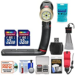 SeaLife SL984 Sea Dragon 2000 Photo Underwater Photo/Video Light with Standard Tray with (2) 32GB Cards + Floating Starp + Silica Gel + Accessory Kit
