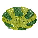 Hiltow Lotus Folding Non Scratch Steamer Basket,Green