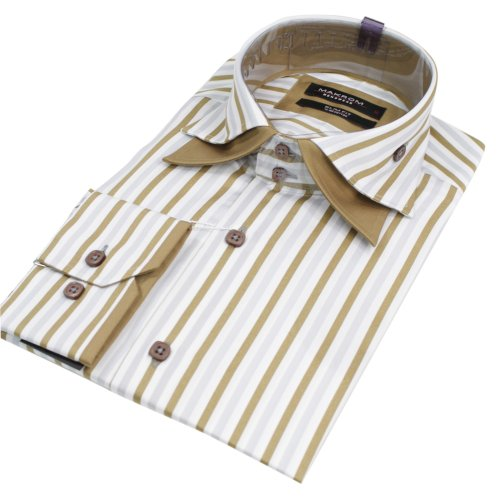 Mens Stripe Italian Design Double Collar Beige Shirt Slim Fit Smart or Casual 100% Cotton