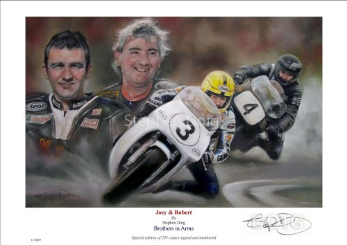 Joey Dunlop & Robert Dunlop, 'Brothers in Arms' 42 x 30cm A3 Limited Edition Fine Art Giclee Print by Stephen Doig. Only 295 copies worldwide.