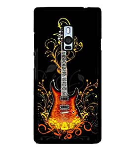 printtech Flaming Abstract Guitar Back Case Cover for One Plus Two::One Plus 2::One+2