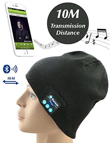 Bluetooth Wireless Headphones ECO-FRIENDLY Knitted Beanie, Deego Musical Earbuds Stretch Hat, with Microphone and Volume Control, for Halloween, Thanksgiving Day, Christmas or New Year's gift - Unisex - Black