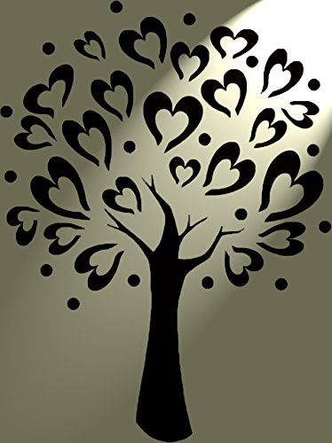 Pochoir en mylar coeur love arbre rustique vintage shabby for Pochoir arbre