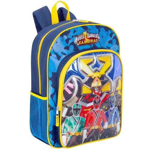 Imagen de Power Rangers Samurai 16 pulgadas para niños de Mochila - Azul con mango amarillo y cremalleras
