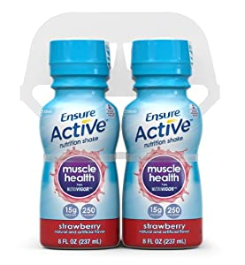 Ensure Active Muscle Health Shake, Strawberry, 8-Ounce, (Pack of 16) (Packaging May Vary)
