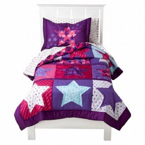 Awesome Circo Star Power Stitched Full Queen Quilt Shams Set Purple Pink Girls Comforter