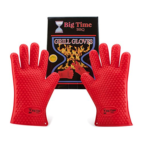Big Time BBQ Silicone Heat Resistant Barbecue Grill Gloves and Oven Mitts With Fingers Perfect For Grilling Kitchen Cooking Baking Smoking Meat - Waterproof & Dishwasher Safe Non Slip Grip Potholders (Small Oven Mits compare prices)