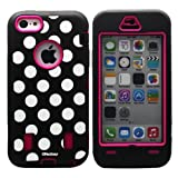 Oksobuy@ Iphone 5c Case Polka Dot Deluxe Hard Soft High Impact Armor Case Combo for Apple Iphone 5c, (Rose Red...