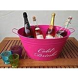 Getränkekühler COLD DRINKS Wanne Eiswanne Eis Eimer Flaschenkühler Eiskübel Bar (Pink)