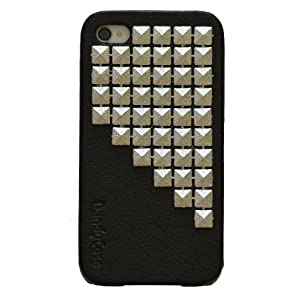 "DandyCase ""Triangle Stud"" Black Leather Case for Apple iPhone 4, 4S (AT&T, Verizon, Sprint) - Includes 24/7 Cases Microfiber Cleaning Cloth [Retail Packaging by DandyCase]"