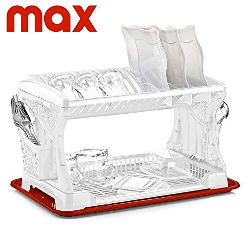 Scolastoviglie Scolapiatti Due Piani in Plastica di alta qualità con Vassoio e Portaposate laterale Max Casa