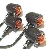 バイク 用 ブレットウィンカー ブラック 4個 セット 汎用 12V アメリカン タイプ / バレット ウインカー