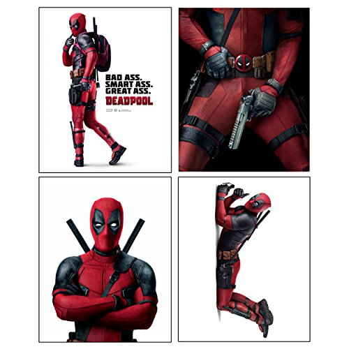 Deadpool --- Set of 4 PHOTO PRINTS / Mini POSTERS of the HIT Marvel Comics Movie starring Ryan Reynolds as Wade Wilson (Cool Posters Marvel compare prices)