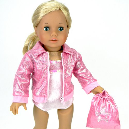"18"" Doll Gymnastics 3 Pc. Set Fits 18 Inch American Girl Doll Clothes & More! Pink Leotard, Jacket & Gym Bag In Pink"