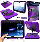 Magic Global Gadgets® - Survivor Military Rugged Armour Tough Shock Proof Case Cover With Stand For Samsung Galaxy Tab 3 10.1 P5200 / P5210 / P5220 10.1 Inch With Built In Screen Guard Protector + Mini Stylus (Purple - Survivor Military Shock Proof)
