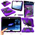"""Magic Global Gadgets - Purple Military Rugged Armour Tough Shock Proof Case Cover With Stand For Samsung Galaxy Tab 3 10.1"""" P5200 / P5210 / P5220 10.1 Inch With MGG Stylus & Built In Screen Guard"""