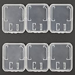 T-Flash Card/ SD Memory Card Carrying Case, ALXCD 6 PCS Plastic Transparent Storage Carrying Case for SanDisk/ Kingston/ Samsung/ Sony/ Transcend Micro SD Memory Card, TF Card, Pack of 6 (Clear)