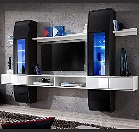 Lettiemobili – Mobile soggiorno Nilson in colore bianco e nero
