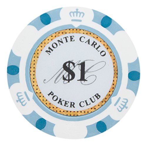 Brybelly Monte Carlo Premium Poker Chip Heavyweight 14-gram Clay Composite - Pack of 50 ($1 White)