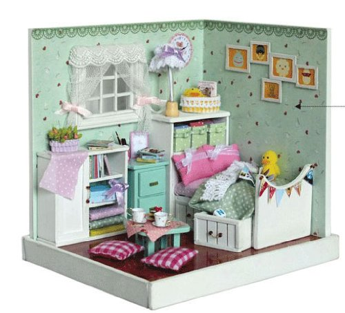 Big Dollhouse Miniature Diy Wood Frame Kit With Light Model Sweet Promise Gift Ldollhouse58-D87