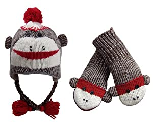 Sock Monkey Hat & Mitten Set Youth / Adult Fits Most