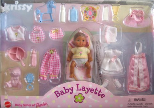 Barbie KRISSY Baby Layette Set w Hispanic AA Baby (1999)