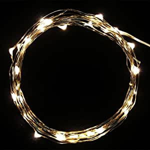 Liroyal 2m/6.5ft 20 LED Copper Wire String Lights Battery Operated for Xmas Christmas Tree Wedding Outdoor Party