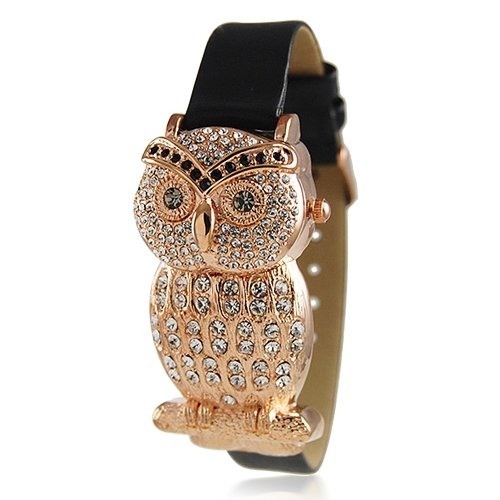 Halloween Jewelry Bling Jewelry Geneva Platinum Womens Black Leather Style Rose Gold Plated Owl Watch