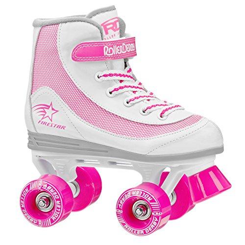 Roller Derby 1978-01 Youth Girls Firestar Roller Skate, Size 1, White/Pink