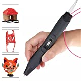 ccbetter Intelligenter 3D Pen 3D Stift, 3D Druckstift, mit Sicherungshalter, 2 Packungen von Free Filaments, Farbe grau mit schwarz (Version III)
