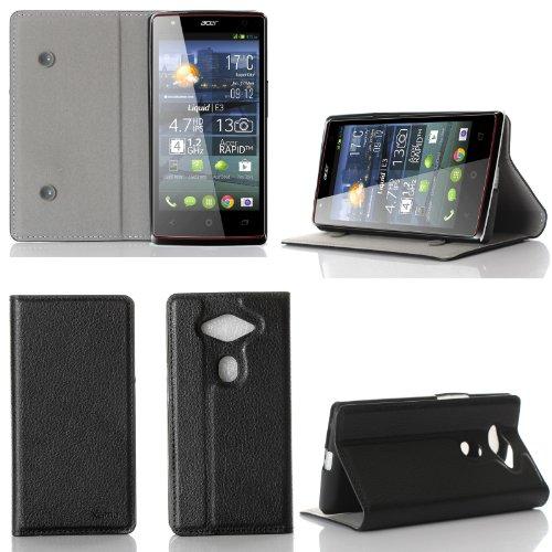 Acer Liquid E3 Plus Dual Sim (Duo) Tasche Leder Hülle Schwarz Cover mit Stand - Zubehör Etui Acer E3 Flip Case Schutzhülle (PU Leder, Handytasche Schwarz) - XEPTIO accessoires