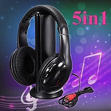 buy Elegiant Sawake 5In1 Hifi Stereo Wireless Headset Headphone Fm Monitor W/Mic For Pc Tv Mp3 Phone