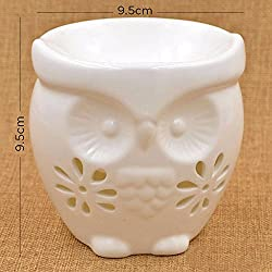 1pc PeepalComm Beige Night Owl Ceramic Aromatherapy oil Burner Candle Fragrance Lamp Holder Furnace Incense Censer Home Decorations