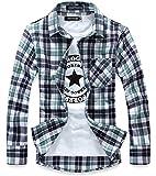 (ハイクルーズ) HIGH CRUISE ギンガム チェック 柄 ネルシャツ メンズ トップス ストリート 長袖 シンプル ファッション タイト カットソー カジュアル アウター ユニセックス Y シャツ (薄緑 XL)