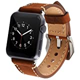 Apple Watch Band,IWatch Band Premium Vintage Crazy Horse Genuine Leather Replacement Watchband with Stainless Metal Clasp for All Apple Watch Sport Edition (38mm Brown)