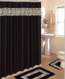 4 piece bath rug set 3 piece black zebra for Matching bathroom accessories sets