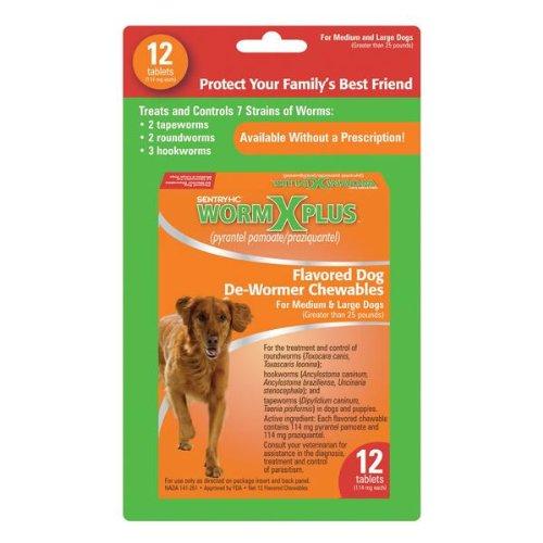 Sentry HC WormX Plus Dog Dewormer (Round/Hook/Tapeworm), Large Dog,12-Count