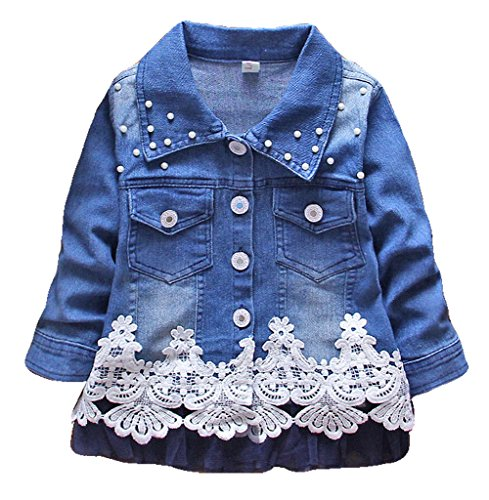 Baby Kids Girls Denim Lace Jacket Outerwear Outfit Denim Coat Cowboy Clothes