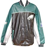 Philadelphia Eagles Pleather Varsity Jacket with Knit Collar by G-III Sports