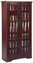 Leslie Dame M-477DC High-Capacity Inlaid Glass Mission Style Multimedia Storage Cabinet, Cherry