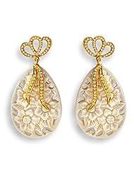 Aastha Jain Cream Bow Resin Carved Sterling Silver(18k Gold Polish) Earring For Women