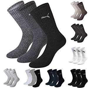 Puma Sports Socks - Unisex Crew 3P Pack Adult - Three Pair Packs Of Plain/Mix (ANTHRACITE/GREY MIX, UK SIZE 9-11)